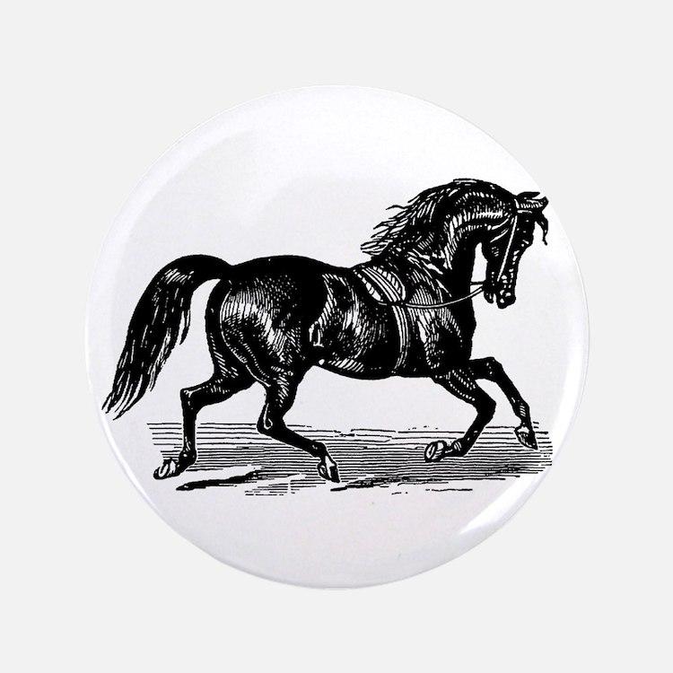 "Shiny Black Stallion Horse 3.5"" Button (100 pack)"