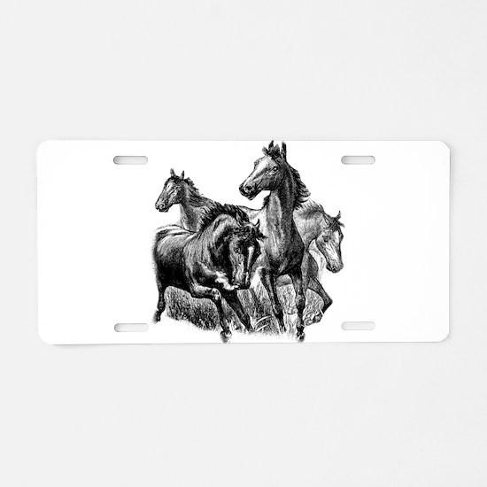 Wild Horses Aluminum License Plate
