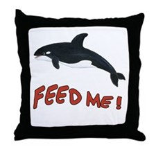 Whale - Feed Me! Throw Pillow