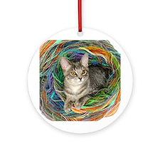 Kitten Yarn Ornament (Round)