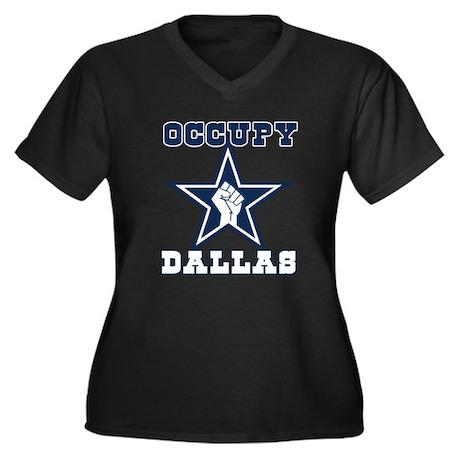 Occupy Dallas Women's Plus Size V-Neck Dark T-Shir