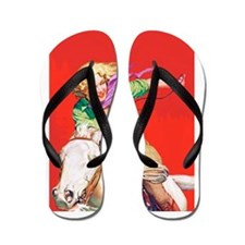 Wild West Cowgirl on White Horse Flip Flops