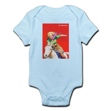 Wild West Cowgirl on White Horse Infant Bodysuit
