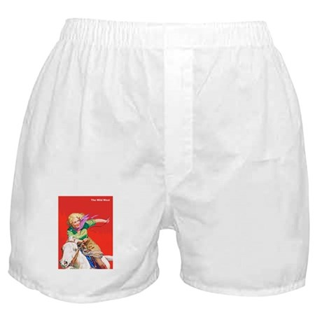Wild West Cowgirl on White Horse Boxer Shorts