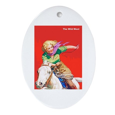 Wild West Cowgirl on White Horse Ornament (Oval)