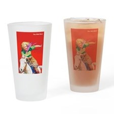 Wild West Cowgirl on White Horse Drinking Glass