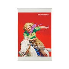 Wild West Cowgirl on White Horse Rectangle Magnet