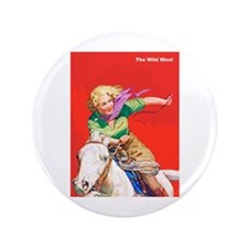 """Wild West Cowgirl on White Horse 3.5"""" Button"""