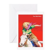 Wild West Cowgirl on White Horse Greeting Card