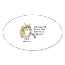 Neutered Liberal Cat - Oval Decal