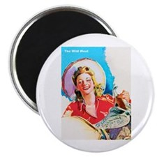 "Wild West Smiling Cowgirl 2.25"" Magnet (100 pack)"