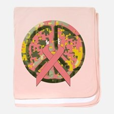 Camo Peace Sign With Pink Cancer Ribbon baby blank