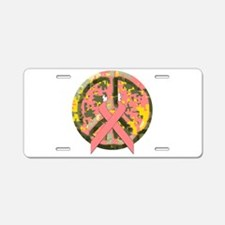 Camo Peace Sign With Pink Cancer Ribbon Aluminum L