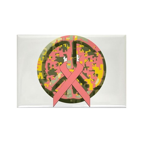 Camo Peace Sign With Pink Cancer Ribbon Rectangle