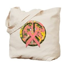 Camo Peace Sign With Pink Cancer Ribbon Tote Bag