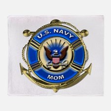 USN Navy Mom Throw Blanket