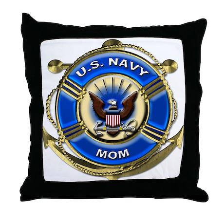 USN Navy Mom Throw Pillow