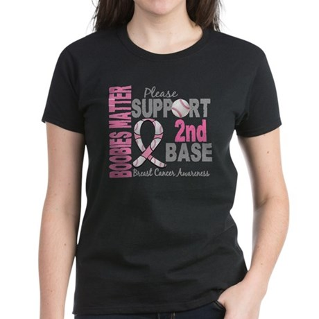 Second 2nd Base Breast Cancer Women's Dark T-Shirt