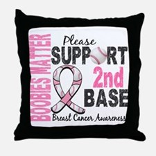 Second 2nd Base Breast Cancer Throw Pillow