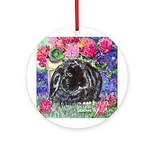 Black Lop Rabbit Ornament (Round)