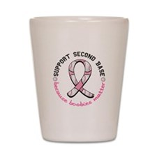 Second 2nd Base Breast Cancer Shot Glass