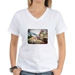 Castle Greyhound Women's V-Neck T-Shirt