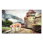 Castle Greyhound Sticker (Rectangle)