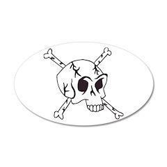 skull crossbones 38.5 x 24.5 Oval Wall Peel