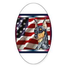 Miniature Pinscher Flag Oval Decal