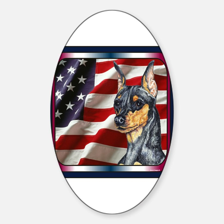 Miniature Pinscher Flag Oval Decal