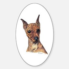 Red Min Pin Portrait Oval Decal