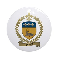 PICARD Family Crest Ornament (Round)