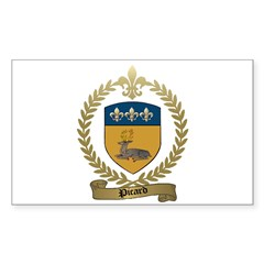 PICARD Family Crest Rectangle Sticker
