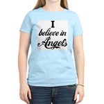 I BELIEVE IN ANGELS Women's Pink T-Shirt