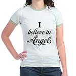 I BELIEVE IN ANGELS Jr. Ringer T-Shirt