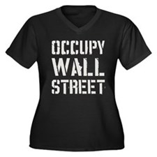 Occupy Wall Street Women's Plus Size V-Neck Dark T