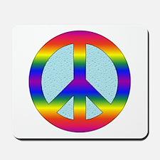 Rainbow Peace Sign Gear Mousepad