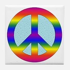 Rainbow Peace Sign Gear Tile Coaster