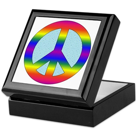 Rainbow Peace Sign Gear Keepsake Box