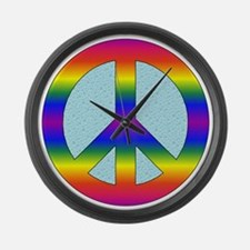 Rainbow Peace Sign Gear Large Wall Clock