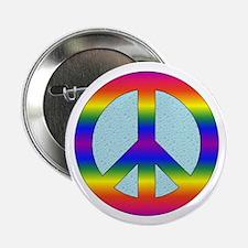 """Rainbow Peace Sign Gear 2.25"""" Button"""