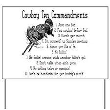 Cowboy Ten Commandments Yard Sign