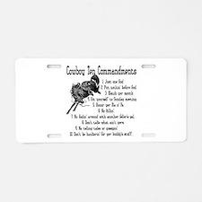 Cowboy Ten Commandments Aluminum License Plate