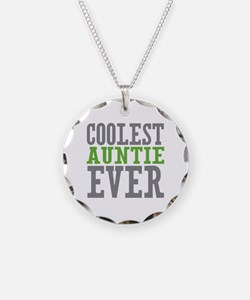 Coolest Auntie Necklace Circle Charm