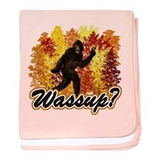Whats Up Bigfoot Sasquatch baby blanket