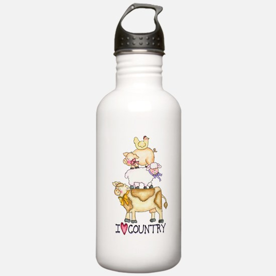 I Love Country Water Bottle