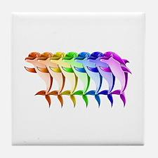 Rainbow Dolphins Tile Coaster