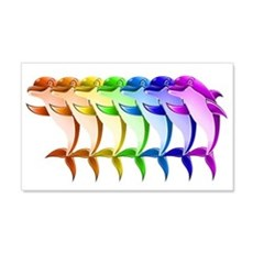 Rainbow Dolphins 22x14 Wall Peel