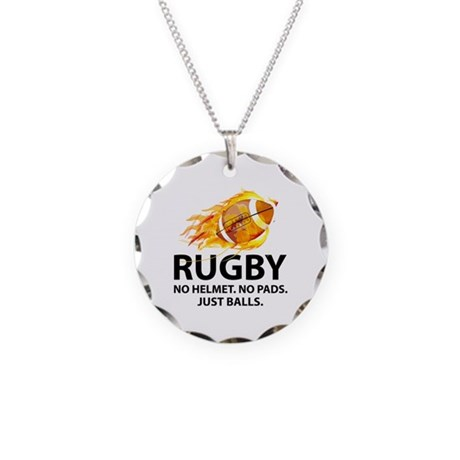 Rugby Just Balls Necklace Circle Charm