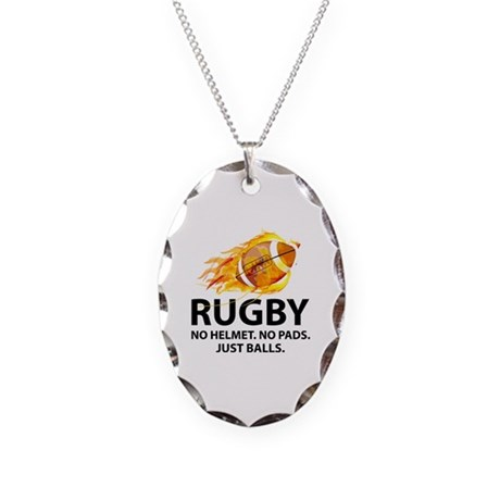 Rugby Just Balls Necklace Oval Charm